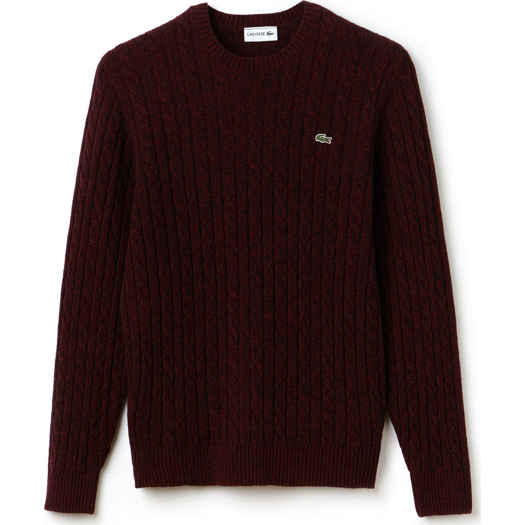 Lacoste Cable Knit Men S Wool Sweater In Turkey Red