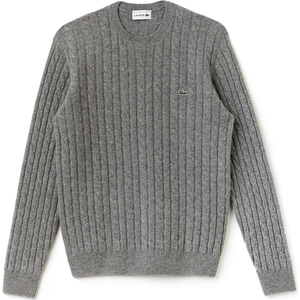 Lacoste Cable Knit Men S Wool Sweater In Stone Gray