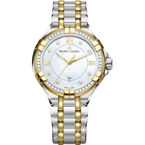 Maurice Lacroix Women's Aikon 30mm Mother of Pearl Watch | Silver/Diamond/Gold AI1004-DY503-171-1
