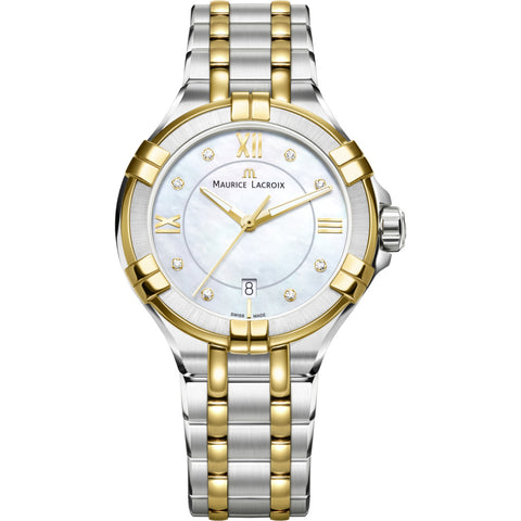 Maurice Lacroix Women's Aikon 30mm Mother of Pearl Watch | Silver/Gold AI1004-PVY13-171-1