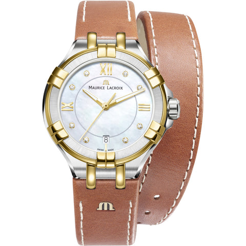 Maurice Lacroix Women's Aikon 35mm Mother of Pearl Watch | Brown Leather AI1006-PVY11-171-1