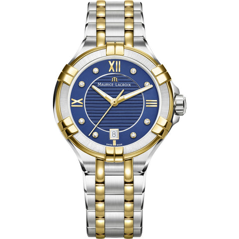 Maurice Lacroix Women's Aikon 35mm Mother of Pearl Watch | Blue/Silver/Gold AI1006-PVY13-450-1