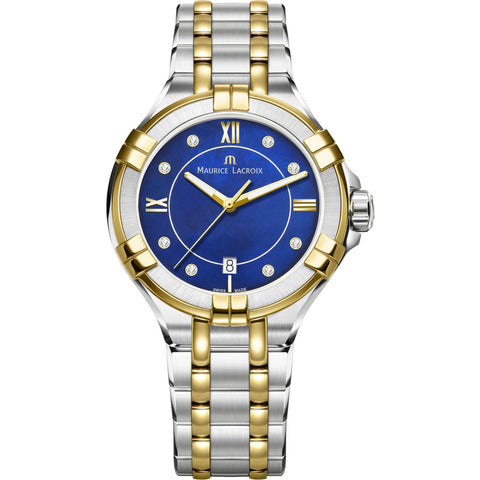 Maurice Lacroix Women's Aikon 35mm Mother of Pearl Watch | Royal Blue/Silver/Gold AI1006-PVY13-470-1
