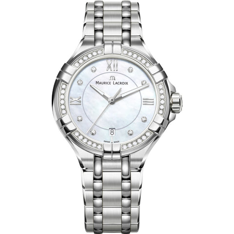 Maurice Lacroix Women's Aikon 35mm Mother of Pearl Watch | Silver/Diamond AI1006-SD502-170-1