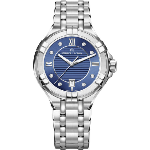Maurice Lacroix Women's Aikon 35mm Mother of Pearl Watch | Blue/Silver AI1006-SS002-450-1