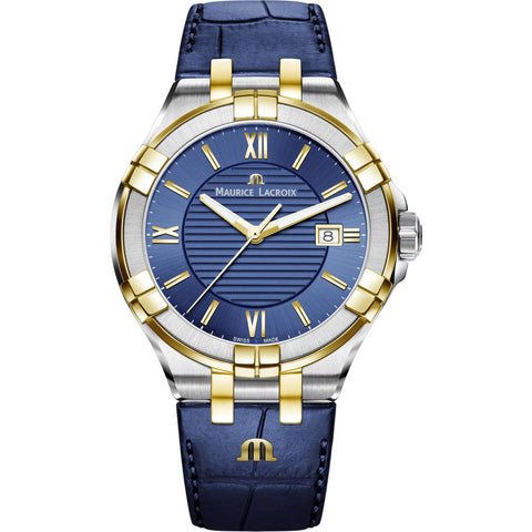 Maurice Lacroix Men's Aikon 42mm Roman Index Watch | Silver/Gold/Blue Leather Strap AI1008-PVY11-432-1