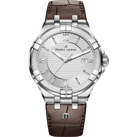 Maurice Lacroix Men's Aikon 42mm Roman Index Watch | Silver/Brown Leather AI1008-SS001-130-1