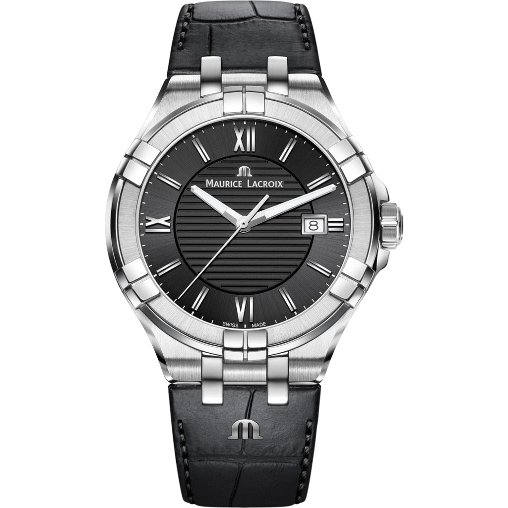 Maurice Lacroix Men's Aikon 42mm Roman Index Watch | Black/Black Leather AI1008-SS001-330-1