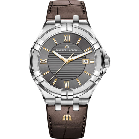 Maurice Lacroix Men's Aikon 42mm Roman Index Watch | Anthracite/Brown Leather AI1008-SS001-333-1