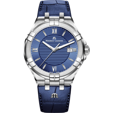 Maurice Lacroix Men's Aikon 42mm Roman Index Watch | Silver/Blue Leather AI1008-SS001-430-1