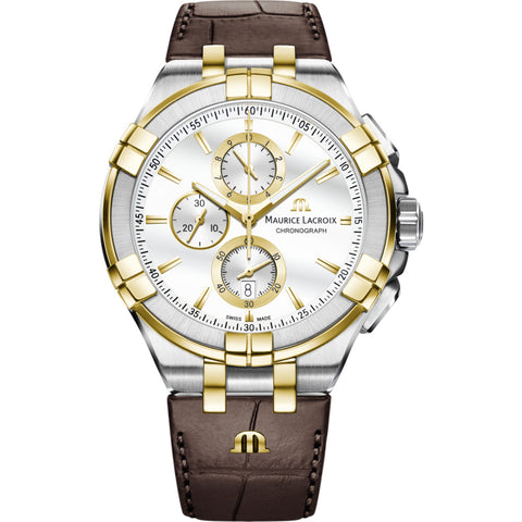 Maurice Lacroix Aikon Chronograph 44mm Watch | Silver/Gold/Brown Leather AI1018-PVY11-132-1