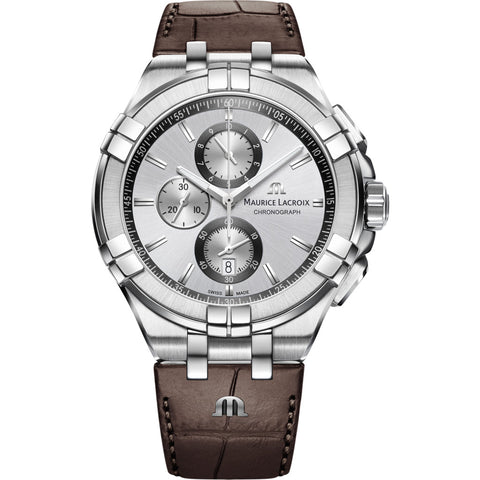 Maurice Lacroix Aikon Chronograph 44mm Watch | Silver/Brown Leather AI1018-SS001-130-1