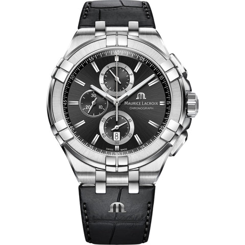 Maurice Lacroix Aikon Chronograph 44mm Watch | Silver/Black Leather AI1018-SS001-330-1