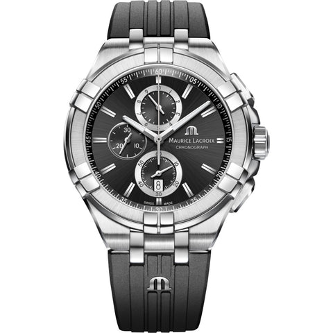 Maurice Lacroix Aikon Chronograph 44mm Watch | Silver/Black AI1018-SS001-330-2