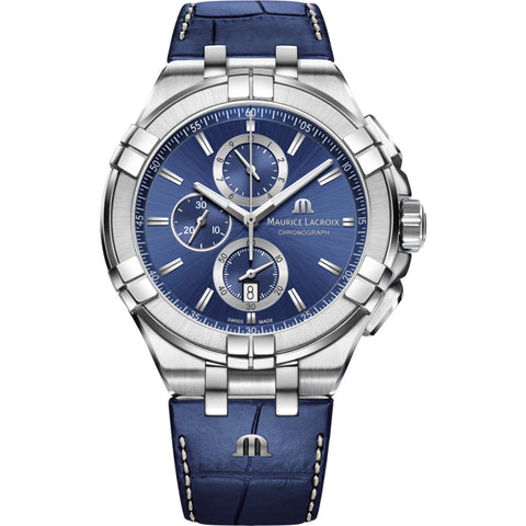 Maurice Lacroix Aikon Chronograph 44mm Watch | Blue/Blue Leather AI1018-SS001-430-1