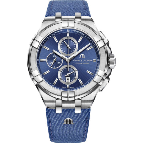 Maurice Lacroix Aikon Chronograph 44mm Watch | Blue/Blue Leather Jean AI1018-SS001-431-1
