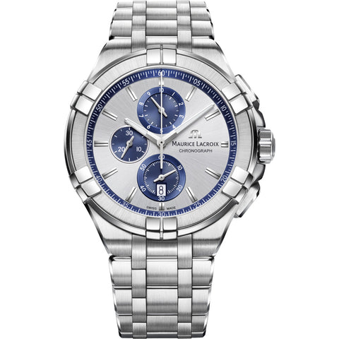 Maurice Lacroix Aikon Chronograph 44mm Watch | Silver/Blue Accent AI1018-SS002-131-1