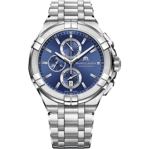 Maurice Lacroix Aikon Chronograph 44mm Watch | Silver/Blue AI1018-SS002-430-1