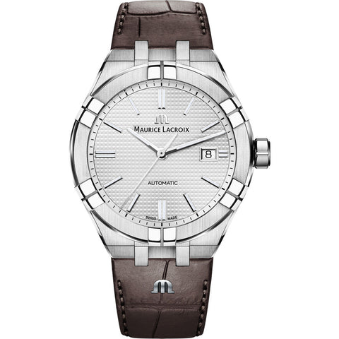 Maurice Lacroix Men's Aikon Automatic 42 mm Watch | Silver/Brown Leather AI6008-SS001-130-1