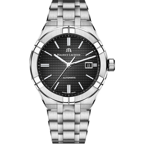 Maurice Lacroix Men's Aikon Automatic 42 mm Watch | Black/Silver AI6008-SS002-330-1