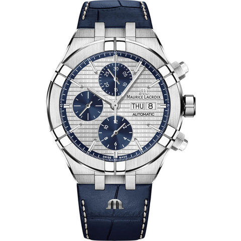 Maurice Lacroix Aikon Automatic Chronograph 44mm Watch | Anthracite/Blue Leather AI6038-SS001-131-1