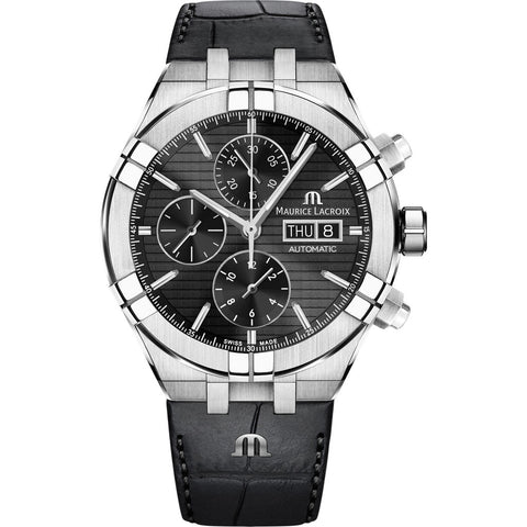 Maurice Lacroix Aikon Automatic Chronograph 44mm Watch | Black/Black Leather  AI6038-SS001-330-1