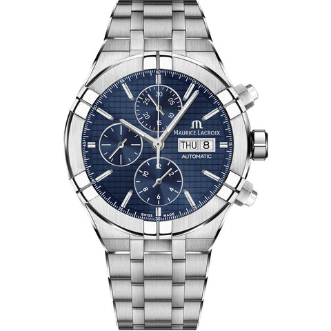 Maurice Lacroix Aikon Automatic Chronograph 44mm Watch | Blue AI6038-SS002-430-1