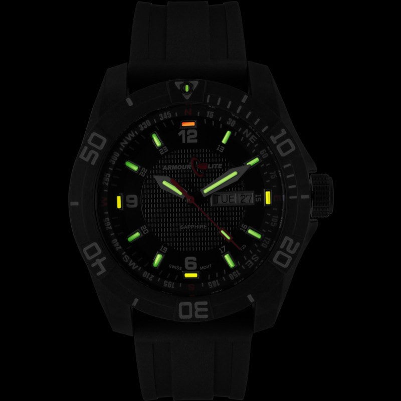 Armourlite Navigator AL1001 Black-Green-Yellow Tritium Watch | Rubber