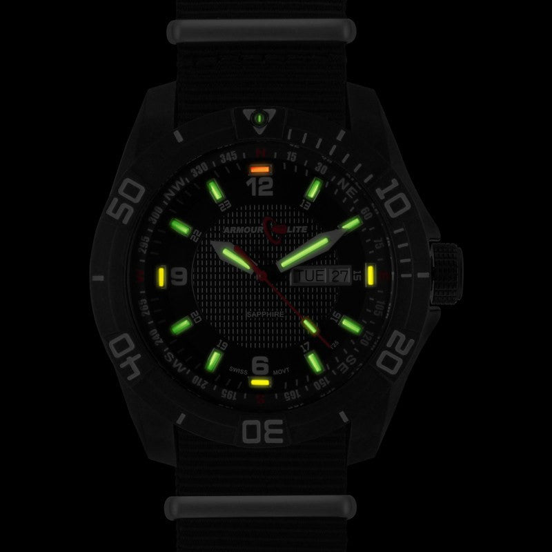 Armourlite Navigator AL1011 Black-Green-Yellow Tritium Watch | Nato