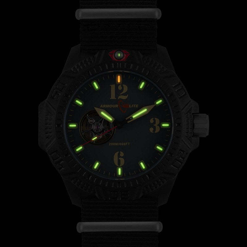 Armourlite Caliber Automatic AL1201 Black-Gold Watch | Nylon