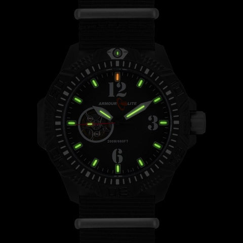 Armourlite Caliber Automatic AL1203 Black-Green Watch | Nylon