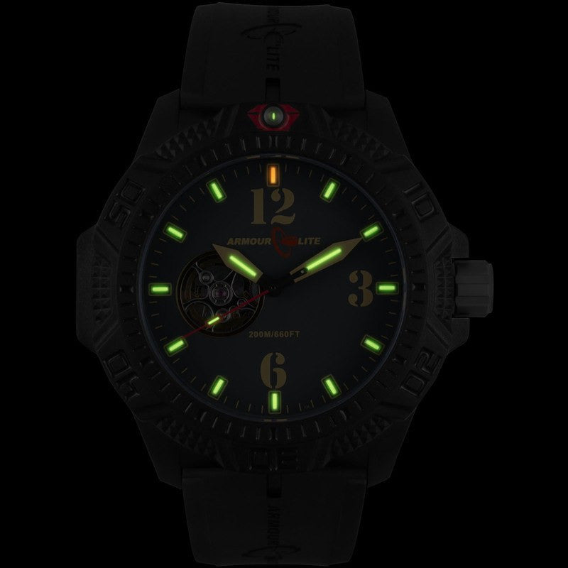 Armourlite Caliber Automatic Men's Watch Black-Green | Rubber AL1211