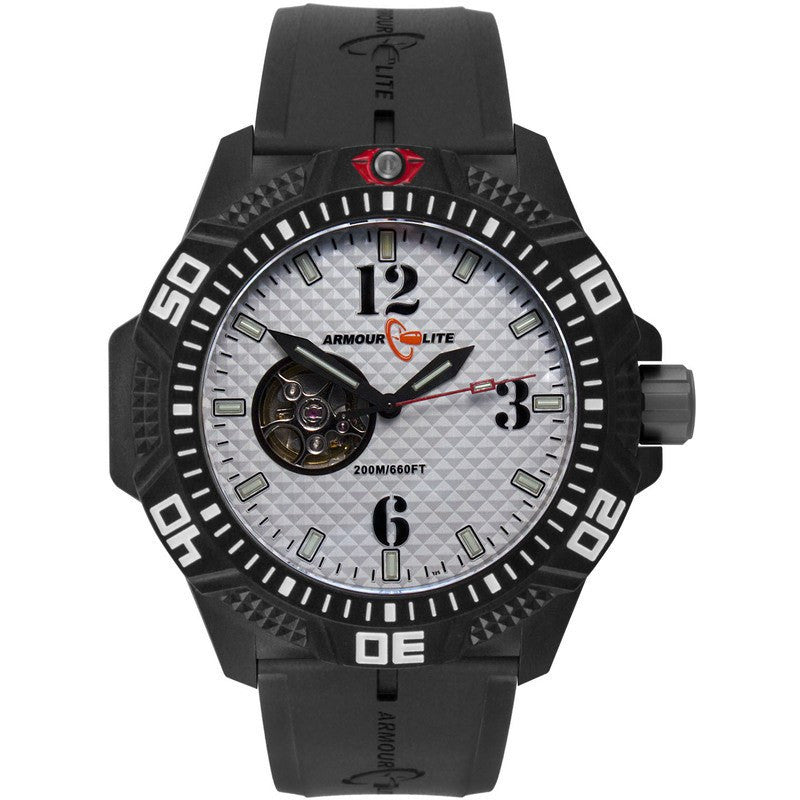 Armourlite Caliber Automatic Men's Watch Black-White | Rubber AL1212