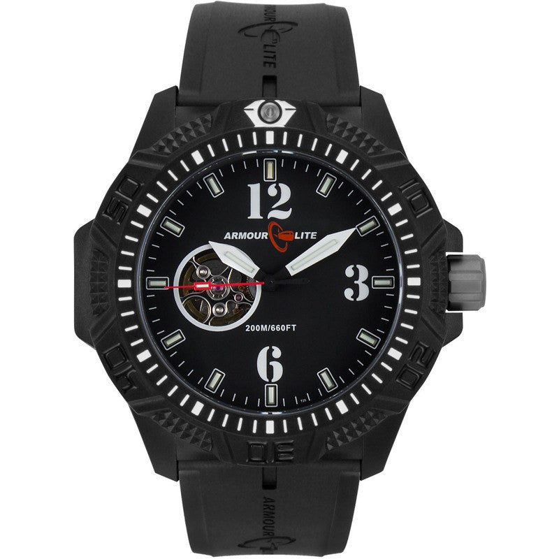 Armourlite Caliber Automatic Men's Watch Black-Black | Rubber AL1213