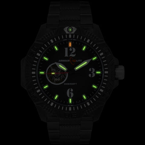 Armourlite Caliber Automatic AL1223 Black-Green Watch | PVD Steel