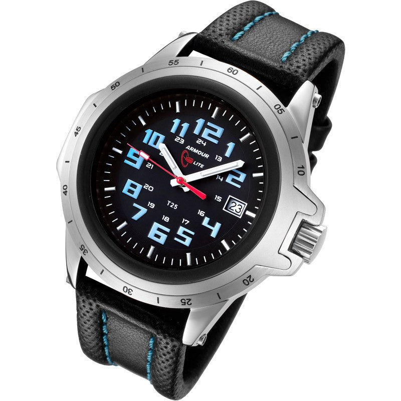 Armourlite ColorBurst Shatterproof Men's Watch Silver-Blue | Leather AL202