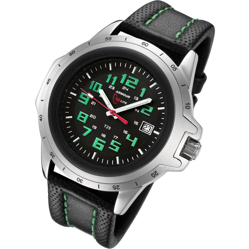 Armourlite ColorBurst Shatterproof Men's Watch Silver-Green | Leather AL203