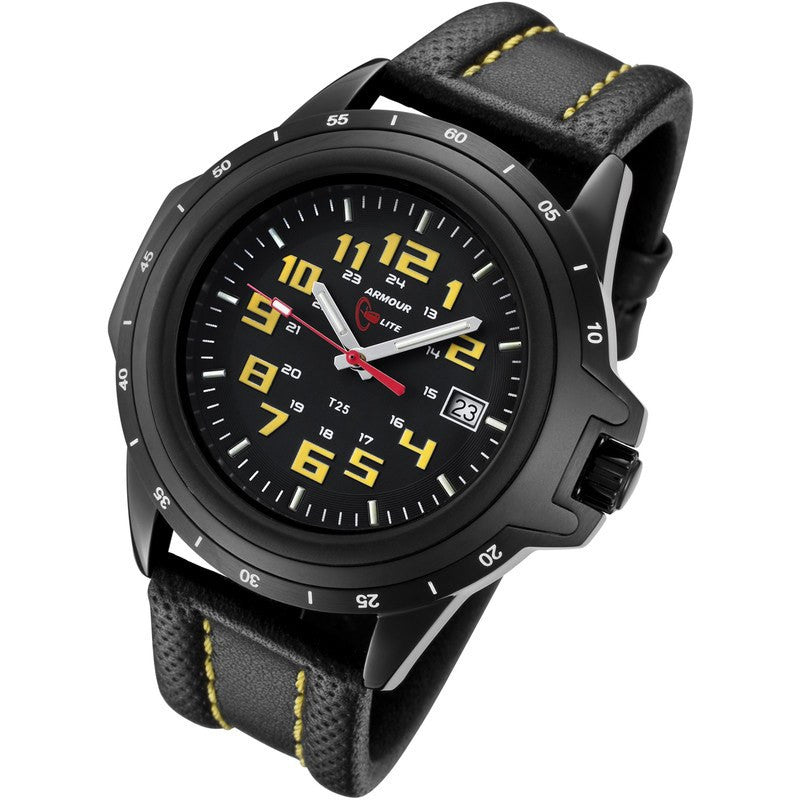 Armourlite ColorBurst Shatterproof Men's Watch Black-Yellow | Leather AL209