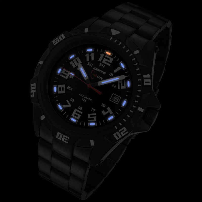 Armourlite Automatic Shatterproof Men's Watch Black-Blue | Steel AL401