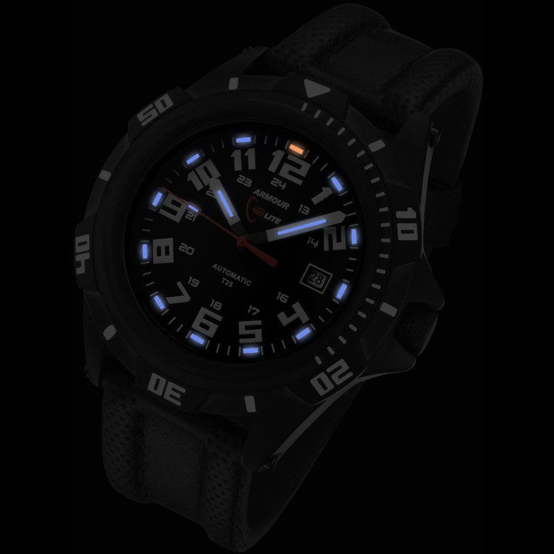 Armourlite Automatic Pro AL411 Black-Blue Watch | Black Leather