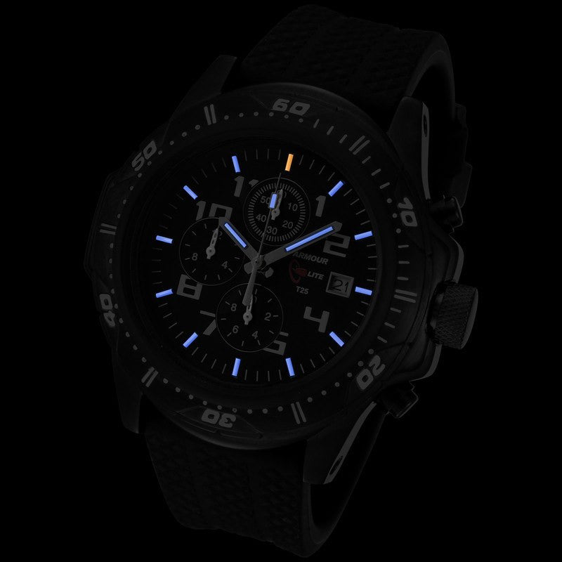 Armourlite Professional Shatterproof Chronograph Men's Watch Black-Blue | Rubber AL43-B
