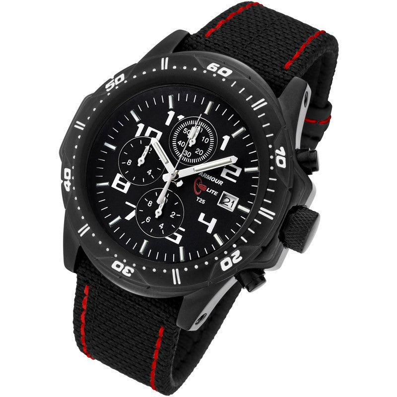 Armourlite Professional Shatterproof Chronograph Men's Watch Black-Green | Kevlar Red AL43-KBR