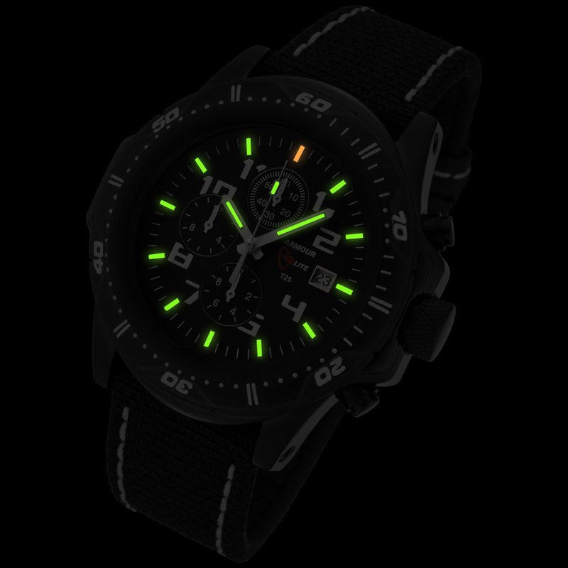 Armourlite Professional Shatterproof Chronograph Men's Watch Black-Green | Kevlar White AL43-KBW