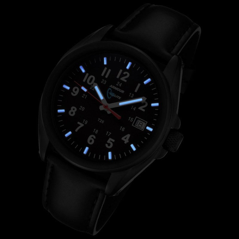 Armourlite Captain Field Shatterproof Men's Watch Black-Blue | Leather AL501-BBL