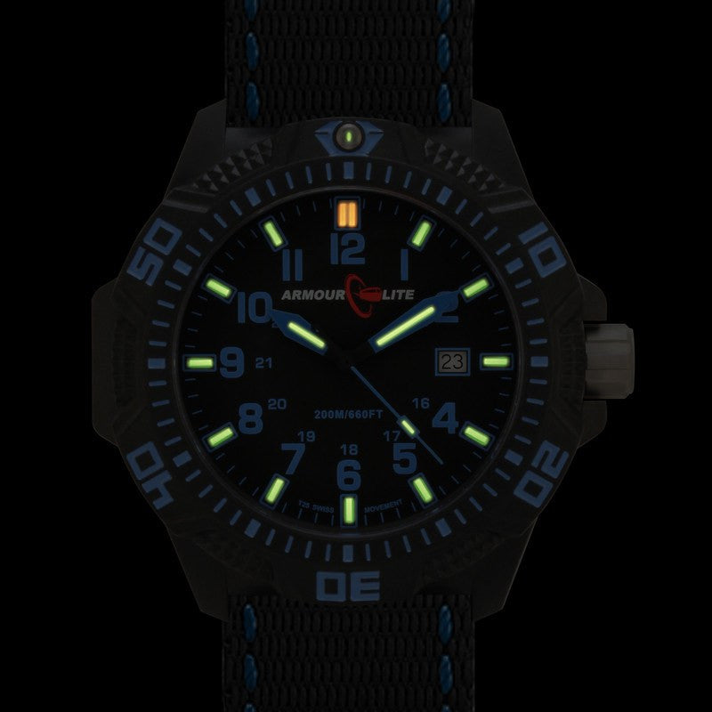 Armourlite Caliber Polycarbonate/Sapphire Men's Watch Black-Blue | Nylon AL601