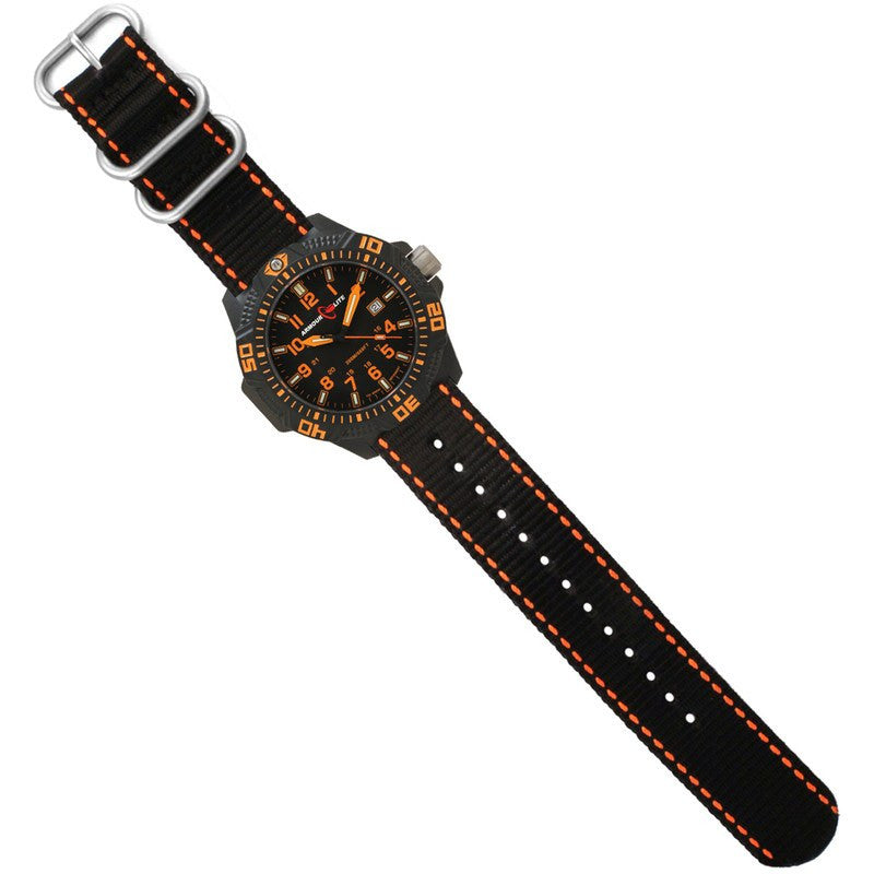 Armourlite Caliber Polycarbonate/Sapphire Men's Watch Black-Orange | Nylon AL602