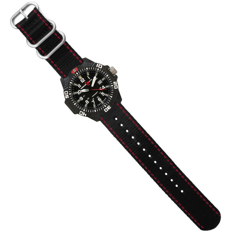 Armourlite Caliber Polycarbonate/Sapphire Men's Watch Black-White | Nylon AL603