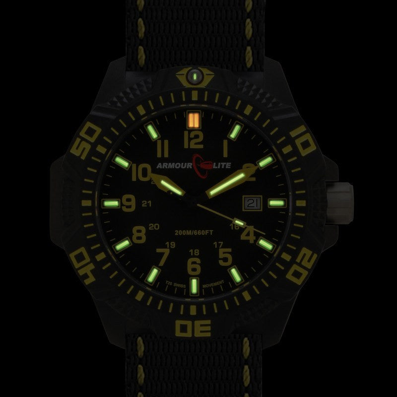 Armourlite Caliber Polycarbonate/Sapphire Men's Watch Black-Yellow | Nylon AL604
