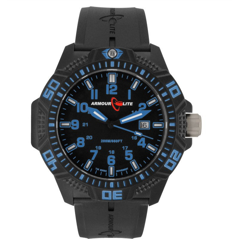 Armourlite Caliber Polycarbonate/Sapphire Men's Watch Black-Blue | Rubber AL611
