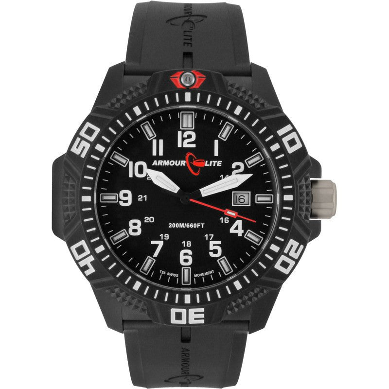 Armourlite Caliber Polycarbonate/Sapphire Men's Watch Black-White | Rubber AL613